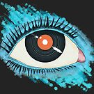 Musical vision: eye illustration with vinyl record for pupil by cesarpadilla