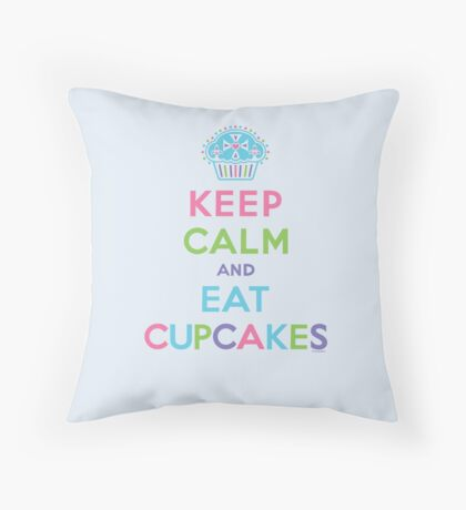 Keep Calm and Eat Cupcakes - beige Throw Pillow