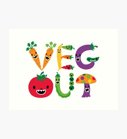 Veg Out - white Art Print