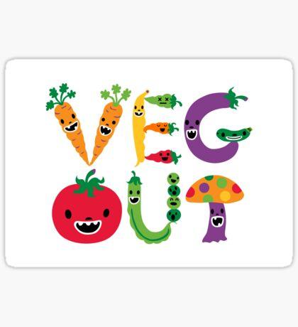 Veg Out - white Sticker