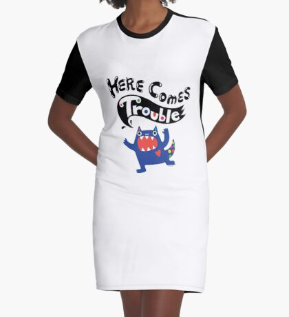 Here Comes Trouble - colbalt Graphic T-Shirt Dress