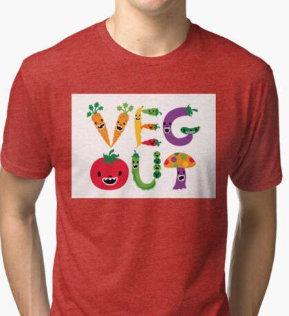 Veg Out - white Tri-blend T-Shirt
