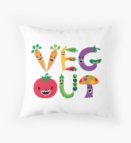 Veg Out - white Throw Pillow