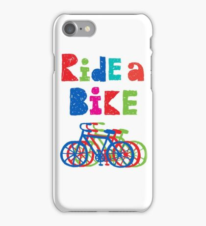 Ride a bike - sketchy - white iPhone Case/Skin