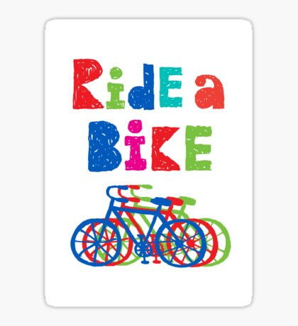 Ride a bike - sketchy - white Sticker
