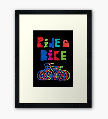 Ride a Bike - sketchy - black Framed Print