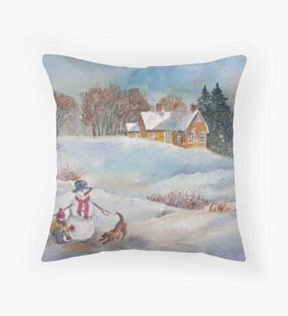 Winter Playmates Throw Pillow