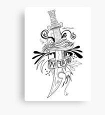 Symbolic Sword - Black & White Canvas Print