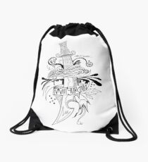 Symbolic Sword - Black & White Drawstring Bag