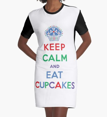 Keep Calm and Eat Cupcakes- primary Graphic T-Shirt Dress