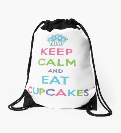 Keep Calm and Eat Cupcakes - pastel Drawstring Bag