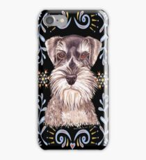 Miniature Schnauzer with Floral Border iPhone Case/Skin