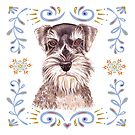 Miniature Schnauzer with Floral Border by didielicious