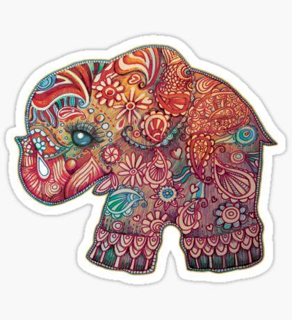Vintage Elephant TShirt Sticker