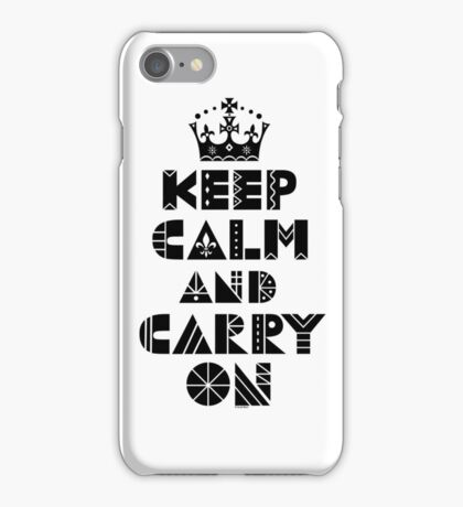 Keep Calm Carry On - black iPhone Case/Skin