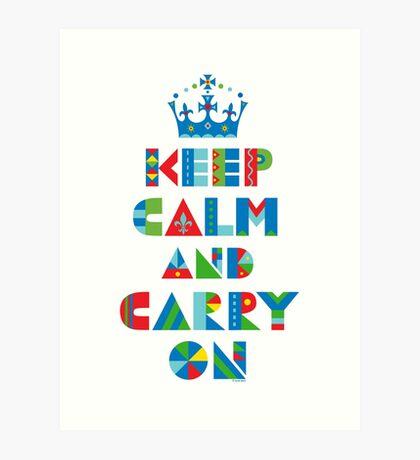 Keep Calm Carry On - on lights Art Print