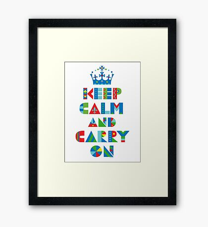 Keep Calm Carry On - on lights Framed Print