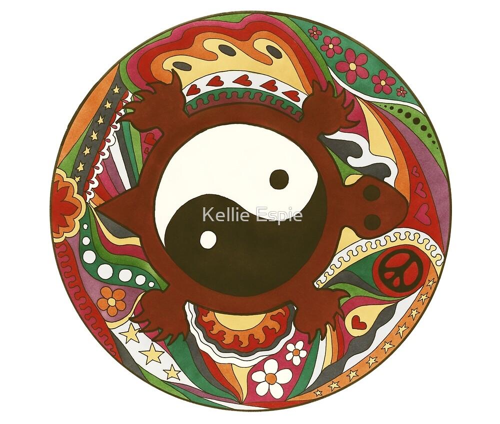 Vintage Psychedelic Yin Yang Turtle by Kellie Espie