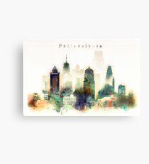 Philadelphia Pennsylvania Watercolor Skyline Metal Print
