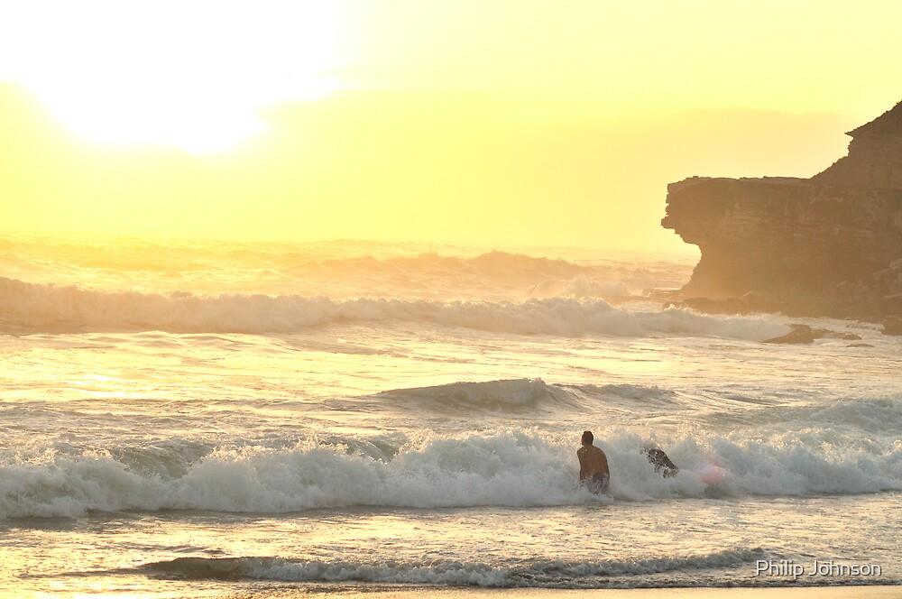 Morning Dip Greets a New Dawn - Warriewood Beach, Sydney NSW Australia by Philip Johnson