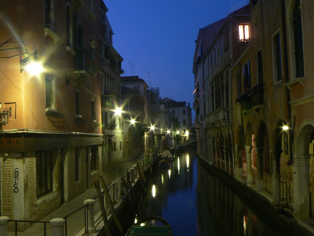 Illuminated canal, Venice II by helmut
