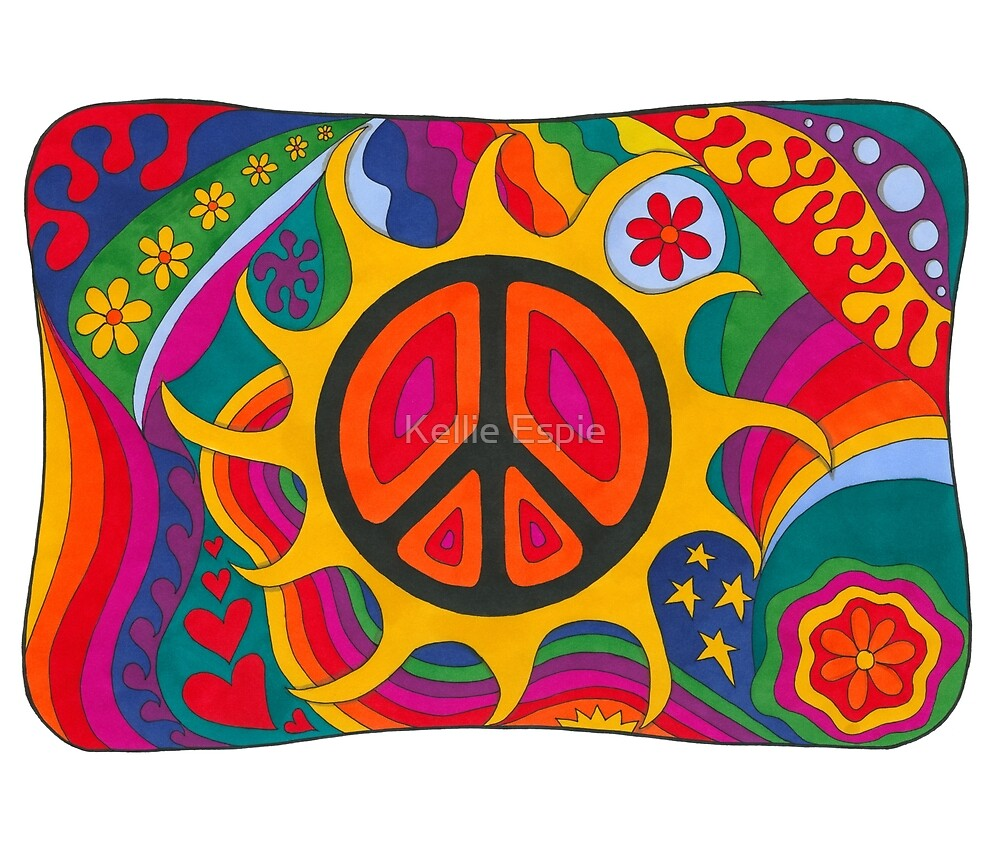 Psychedelic Flaming Peace by Kellie Espie