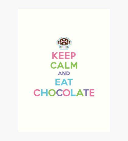 Keep Calm and Eat Chocolate  - lights Art Print