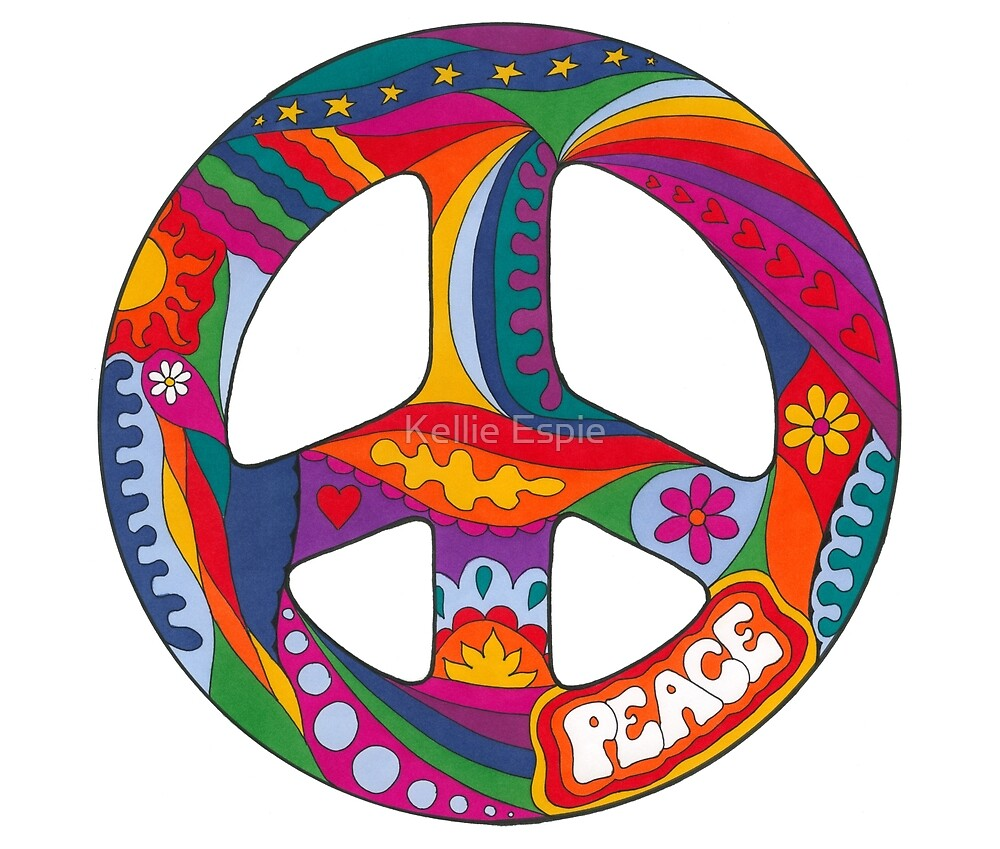 Psychedelic Peace Symbol by Kellie Espie