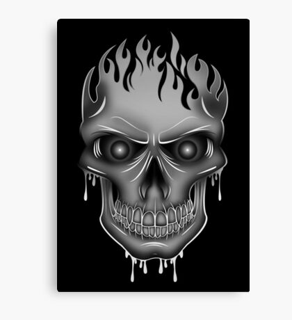Flame Skull - Silver (2) Canvas Print