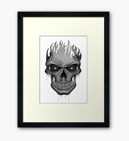 Flame Skull - Silver Framed Print
