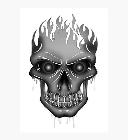 Flame Skull - Silver Photographic Print