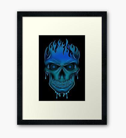 Flame Skull - Blue (2) Framed Print