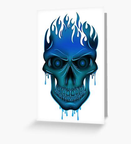 Flame Skull - Blue Greeting Card