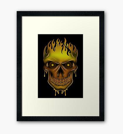 Flame Skull - Gold (2) Framed Print