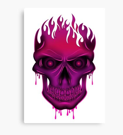 Flame Skull - Hot Pink Canvas Print