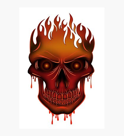 Flame Skull Photographic Print