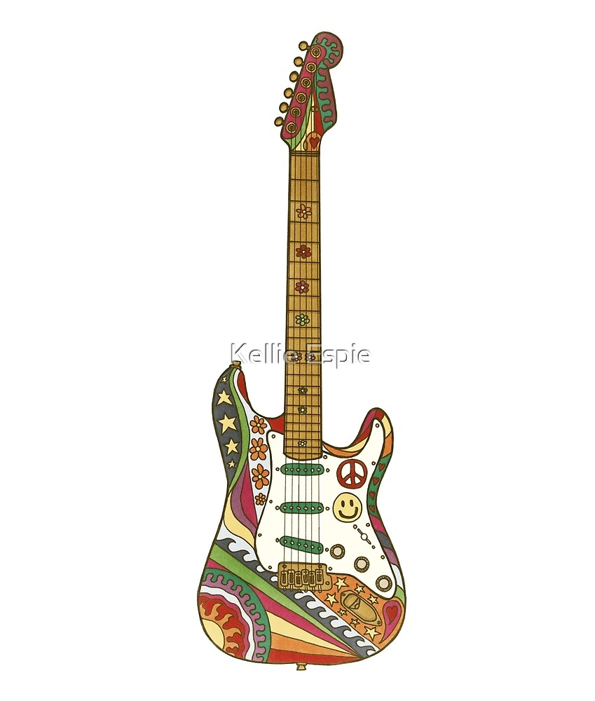 Vintage Psychedelic Guitar by Kellie Espie