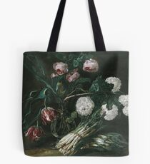 Jan Fyt - Vase Of Flowers And Two Bunches Of Asparagus Tote Bag