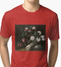 Jan Fyt - Vase Of Flowers And Two Bunches Of Asparagus Tri-blend T-Shirt