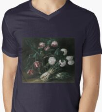 Jan Fyt - Vase Of Flowers And Two Bunches Of Asparagus Mens V-Neck T-Shirt