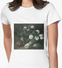 Jan Fyt - Vase Of Flowers And Two Bunches Of Asparagus Women's Fitted T-Shirt