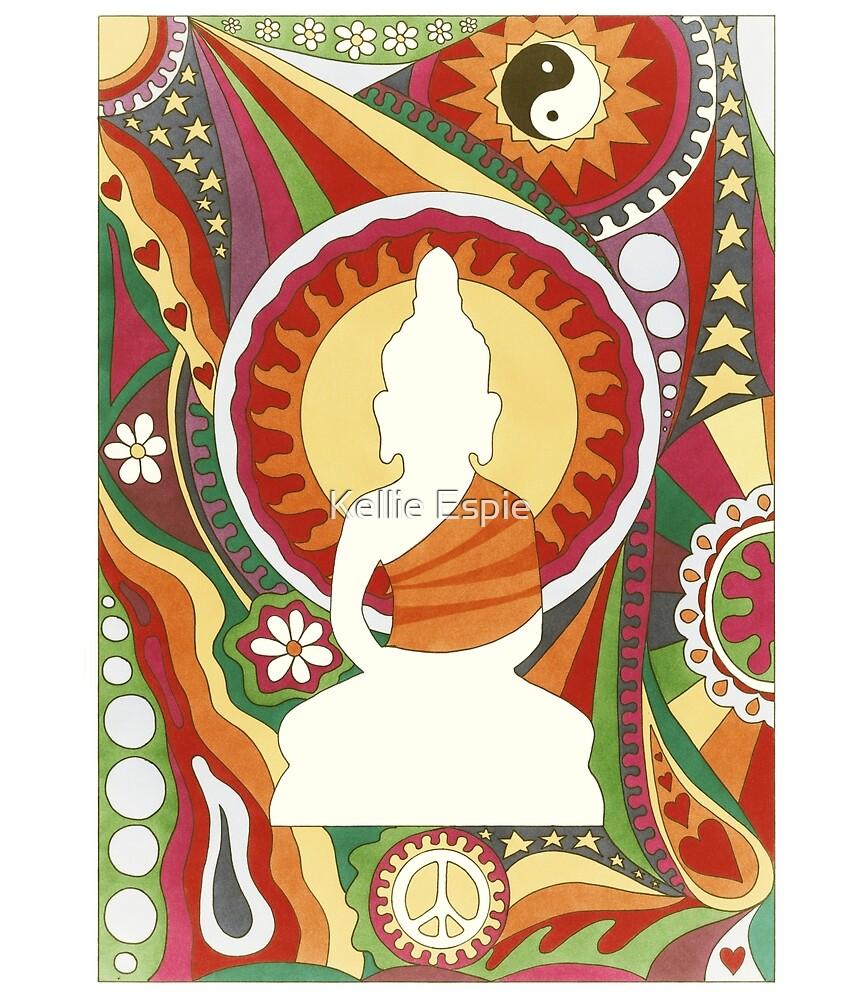 Vintage Psychedelic Buddha by Kellie Espie