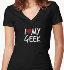 i heart my geek Women's Fitted V-Neck T-Shirt