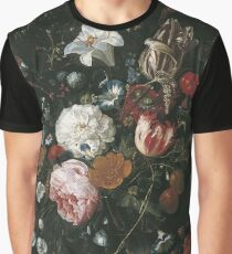 Jan Davidsz. De Heem - Flowers In A Glass Vase With Fruit Graphic T-Shirt