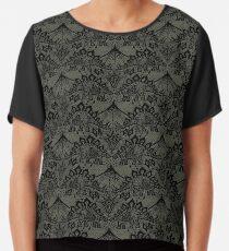 Stegosaurus Lace - Black / Grey Chiffon Top
