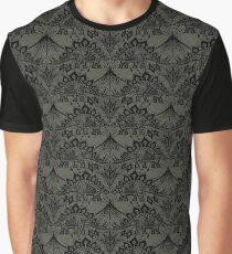 Stegosaurus Lace - Black / Grey Graphic T-Shirt