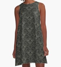 Stegosaurus Lace - Black / Grey A-Line Dress
