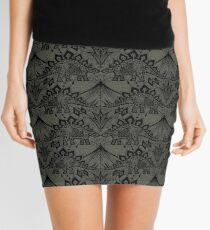 Stegosaurus Lace - Black / Grey Mini Skirt