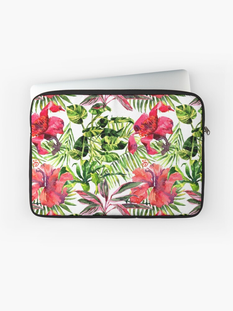 6a54d7b9086f Tropical Background. watercolor tropical leaves and plants. Hand painted  jungle greenery background   Laptop Sleeve