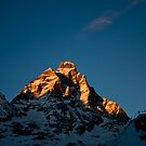 Sun setting on The Matterhorn by Steve plowman